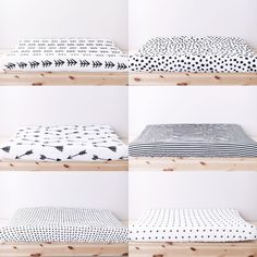 The coolest, most modern changing pad covers for any and every nursery! Modern Burlap's black and white muslin changing pad covers add instant chic to any nursery!
