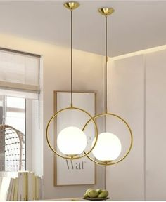 Contemporary Minimalist Metal Ring Globe Glass Shade Single Light Gold Pendant Light – Pendant Lights – Ceiling Lights – Lighting - All For Decoration Luminaire Vintage, Luminaire Led, Round Pendant Light, Modern Pendant Light, Globe Pendant Light, Pendant Lamp, Pendant Lighting, Gold Pendant, Home Lighting