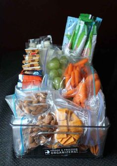 Make a healthy snack bin that you call pull from anytime.