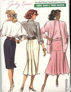Butterick 5909 Fast and Easy Misses Skirt Pattern Size 14-16-18 Uncut - Women
