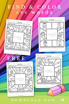These CVC Find Cvc Words, Teacher Blogs, Teacher Resources, Classroom Resources, Teaching Kindergarten, Teaching Reading, Teaching Ideas, Word Family List