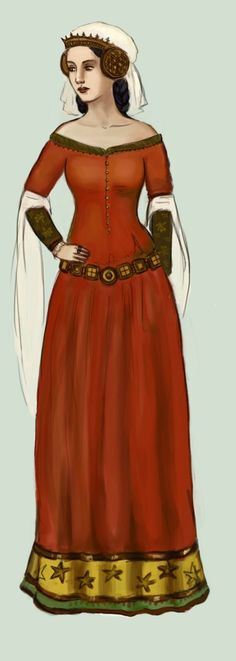 1320, by Tadarida on DeviantArt. 14th Century dresses are tight (tailoring appears) with long, tight sleeves and full skirts. They are often laced or buttoned in the front. A loose surcoat could be worn over.