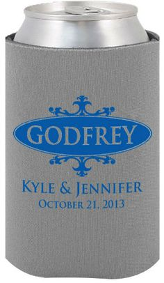 totally wedding koozies wedding design featuring couples last name
