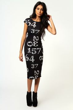 Minnie Number Print Cap Sleeve Bodycon Midi Dress only £15! >> http://www.boohoo.com/restofworld/clothing/new-in/icat/newin/evening-dresses/minnie-number-print-cap-sleeve-bodycon-midi-dress/invt/azz53561