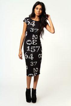 Minnie Number Print Cap Sleeve Bodycon Midi Dress only £15! >> http://www.boohoo.com/restofworld/clothing/new-in/icat/newin/evening-dresses/minnie-number-print-cap-sleeve-bodycon-midi-dress/invt/azz53561