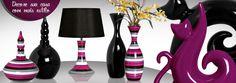 Decore sua casa com estilo, sofisticação e qualidade com as lindas peças em cerâmica com listras coloridas.