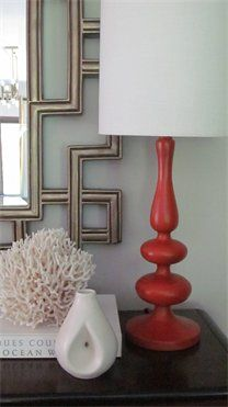 I like this coral and grey color scheme