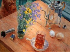 """Morning Still Life,"" by Kuzma Petrov-Vodkin (1878-1939"
