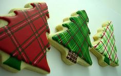 Plaid, plaid and more plaid...more cookies that might be too cute to eat.