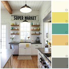 paint colour palette ideas for a rustic farmhouse or country look in a white kitchen with natural floors.  Photo courtesy of Magnolia homes.  Great decorating ideas for the rustic style