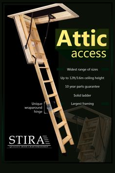 Stira specialise in the manufacture and installation of high end loft ladders. We have a wide range of sizes to suit most homes or can custom build to the customers requirements. Home Gym Basement, At Home Gym, Folding Attic Stairs, Living Room Decor Tips, Small Space Bedroom, Loft Storage, Bohemian Bedspread, Storage Solutions, Storage Ideas