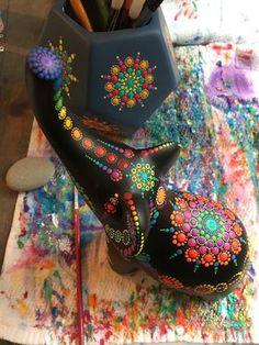 Boho Dot painting elephant. Mandala. Rainbow. Decor.