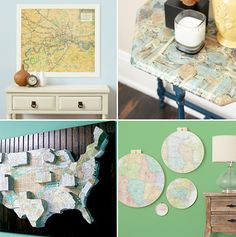 Decorating with Maps Repurpose already-owned maps—think old local transit and road maps—cut pages from outdated atlases or find vintage maps at bookshops, thrift stores and swap meets.