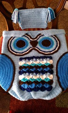 Owl Cocoon baby crochet handmade Blues photo prop set size 0-6 months by MooreCraftyCreations on Etsy
