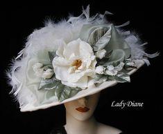 Victorian Hats, Victorian Tea Hats - Lady Diane Hats (front of hat) Victorian Tea Party, Victorian Hats, Victorian Fashion, Victorian Women, Edwardian Era, Tea Hats, Tea Party Hats, Cloche Hats, Tea Parties