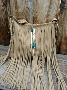 Nude Natural Tan Suede Fringe Leather Handbag by RusticMoon13