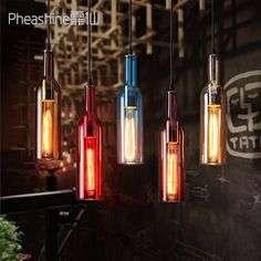 (32.40$)  Watch now - http://aixoa.worlditems.win/all/product.php?id=32688461631 - Loft Wine Bottle Glass Art Ceiling Droplight Cafe Bar Aisle Bedroom Hall Lamp
