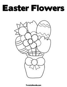Easter Flowers Coloring Page from TwistyNoodle.com