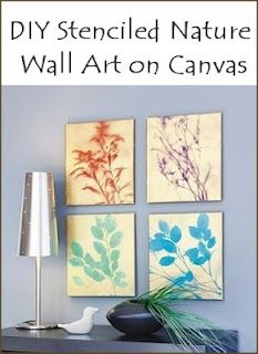 DIY stenciled nature wall art on canvas