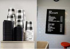 Restaurant Visit: Sis Deli + Cafe in Finland : Remodelista coffee cups Cafe Branding, Cafe Logo, Deli Cafe, Cafe Restaurant, Take Away Coffee Cup, Coffee Cups, Cofee Shop, Bakery Interior, Warm Industrial