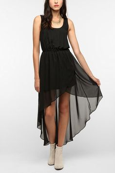 Sparkle & Fade Chiffon High/Low Tank Dress - I love asymmetrical skirts that are sheer
