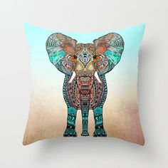 http://society6.com/product/boho-summer-elephant_pillow?curator=simonlevis #pillow #pillows #society6