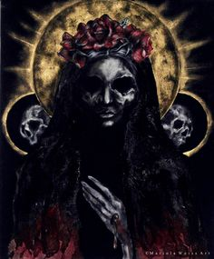 NEW PHOTO santa muerte ©MWeissArt 2013 acrylics on canvasboard 50 x 60 cm in this style Occult Art, Skulls And Roses, Goth Art, Afraid Of The Dark, Dark Gothic, Dark Fantasy Art, Aesthetic Grunge, Skull Art, Black Art