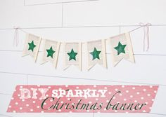 DIY Sparkly Vintage book page Christmas Decor Banner - holiday DIY using Mod Podge - click thru for the full tutorial! #modpodge #modpodgeholiday