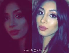 @kimmy_ruelas showing the difference with and without the Crush Glow Selfie Light