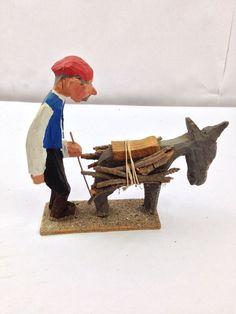 Folk Art Doll Handmade Greek Old Man & Mule Hauling Wood Vintage Figurine