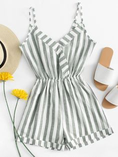 Shop V Neckline Striped Roll Hem Romper at ROMWE, discover more fashion styles online. Girls Fashion Clothes, Teen Fashion Outfits, Cute Fashion, Look Fashion, Outfits For Teens, Girl Fashion, Fashion Spring, Trendy Fashion, Style Clothes