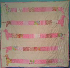 Dachshund Quilt  Approx. 56x 61 by LittleHootNannys on Etsy