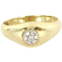 Pre-Owned Vintage 14K Yellow Gold Diamond Small Cluster Ring - Size... ($489) ❤ liked on Polyvore featuring jewelry, rings, no color, 14k ring, 14k gold jewelry, 14k diamond ring, tri color gold ring and gold jewelry