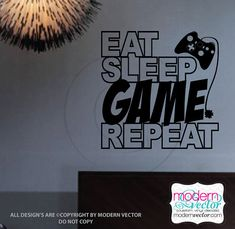 Eat Sleep Game Repeat Quote Vinyl Wall Decal by ModernVector