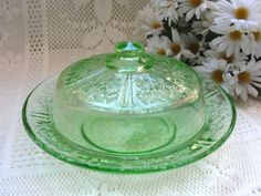 Vintage Cabbage Rose of Sharon Green Depression Glass Butter Cheese Covered Dish - would love to have this.