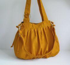 Sale  Mustard Canvas Pumpkin Bag shoulder bag tote by tippythai, $39.00