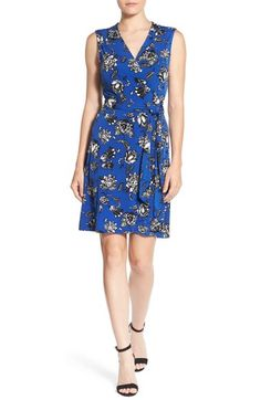 Vince Camuto Floral Print Sleeveless Wrap Jersey Dress available at #Nordstrom