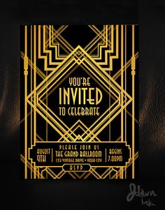 Art Deco Gatsby style party template design available on iStockphoto.com in vector format. http://www.istockphoto.com/vector/art-deco-style-vintage-invitation-design-template-40863820?st=e0d7161
