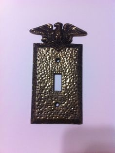 Brass Coated Aluminum Switch Plate with Eagle! Brass, Dantes Nferno, Aluminum
