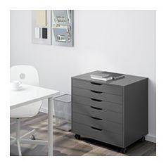 IKEA - ALEX, Drawer unit on casters, gray, , Drawer stops prevent the drawer from being pulled out too far.This unit can be placed anywhere in the room because it is finished on the back.The casters make it easy to move around.