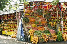 Hambantota, Kataragama, Province of Uva, Sri Lanka, colourful arrangement of fruit at street stall