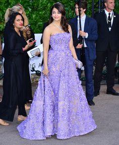 Aishwarya Rai in lilac Elie Saab at Cannes 2015 amfAR gala.
