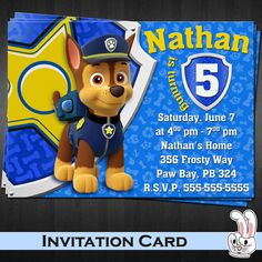 PAW Patrol  Chase  Blue  Invitation card  от FunnyBunnyStore