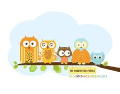 Family Art print for Nursery Owl Family 12X16 by UrbanTickle, $30.00