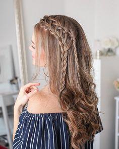 Penteado cabelo solto: 120 ideias + tutoriais para deixar o coque de lado – Uñas Coffing Maquillaje Peinados Tutoriales de cabello Box Braids Hairstyles, Down Hairstyles For Long Hair, Curly Hair Braids, Sporty Hairstyles, Braids For Long Hair, Trending Hairstyles, Latest Hairstyles, Curly Hair Styles, Natural Hair Styles