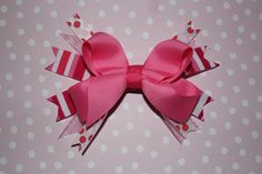 """small/medium Valentine's day stacked classic bow. perfect for and infant or toddler.  """"like"""" beachfront bows on facebook"""