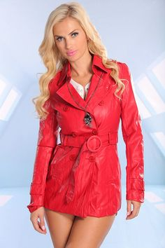 RED FAUX LEATHER BUTTON WAIST TIE TRENCH COAT,Trendy & Fashion Style Women Coats-Sexy Women Coats,Winter Coats,Hooded Coat,Fur Coats,Leather...