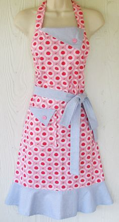 Pink Floral Apron Pink and Gray Retro Apron by KitschNStyle