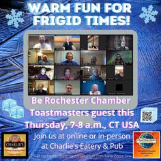 Warm fun for frigid times! Be our guest on Zoom— or in the room at Charlie's— our hybrid meeting happens this Thursday morning & you're invited - Log-in just before 7 a.m. CT USA - Email us at rochestertoastmasters@gmail.com for a #Zoommmeeting link #d6tm #rochmn #rochester_mn #dmcmn Ct Usa, Friday Funnies, Thursday Morning, Good Humor, Warm, Shit Happens, Times, Link