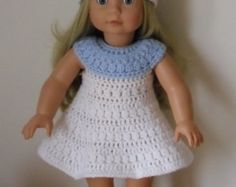 Crochet pattern for dress and hat for 18 inch doll